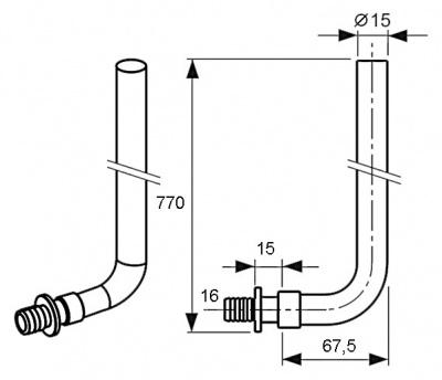 Трубка Г-образная для радиаторов (отвод) Ø 16 × 15/770 мм, TECE TECEflex (714027) купить в интернет-магазине Азбука Сантехники