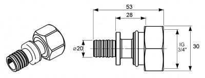 """Переходник Ø 20 мм × 3/4"""" накидная гайка, никелированная латунь, TECE TECEflex (7136201) купить в интернет-магазине Азбука Сантехники"""