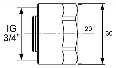 """Резьбозажимное соединение Ø 20 мм × 3/4"""" для труб PE-Xc, PE-MDXс, TECE TECEflex (713020) купить в интернет-магазине Азбука Сантехники"""