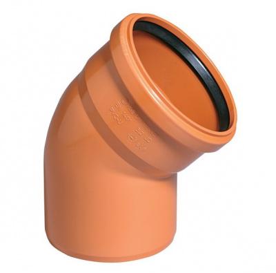 Отвод ПВХ Ø 110 мм × 45° для наружной канализации купить в интернет-магазине Азбука Сантехники