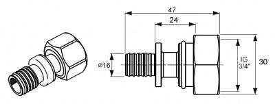 """Переходник Ø 16 мм × 3/4"""" накидная гайка, никелированная латунь, TECE TECEflex (7136161) купить в интернет-магазине Азбука Сантехники"""