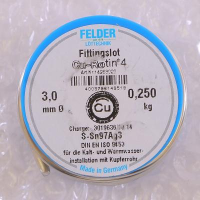Припой мягкий FELDER Cu-Rotin®4 3 мм на шпуле, 250 г купить в интернет-магазине Азбука Сантехники