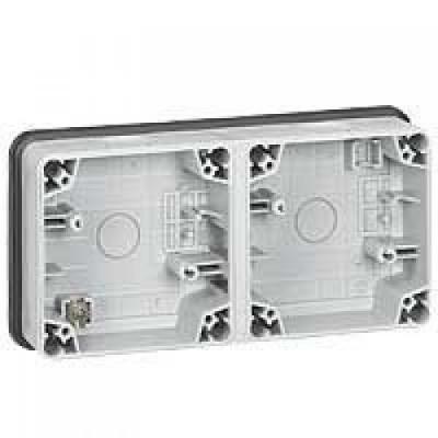 Legrand Plexo Серый Коробка монтажная 2-местная для накладного монтажа горизонтальная IP66 купить в интернет-магазине Азбука Сантехники