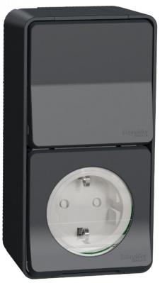 Schneider Electric Mureva Styl Антрацит Блок розетка+переключатель накладного монтажа IP55 купить в интернет-магазине Азбука Сантехники
