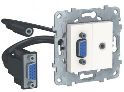Schneider Electric Unica New Белый Розетка HD15+Minijack купить в интернет-магазине Азбука Сантехники