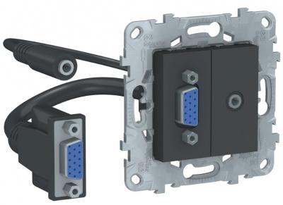 Schneider Electric Unica New Антрацит Розетка HD15+Minijack купить в интернет-магазине Азбука Сантехники