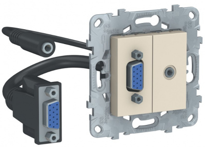 Schneider Electric Unica New Бежевый Розетка HD15+Minijack купить в интернет-магазине Азбука Сантехники
