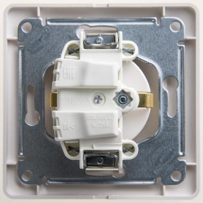 Schneider Electric Glossa Перламутр Розетка с/з со шторками в сборе купить в интернет-магазине Азбука Сантехники