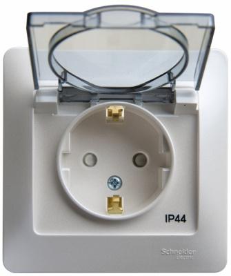 Schneider Electric Glossa Перламутр Розетка с/з со шторками с крышкой в сборе 16A IP44 купить в интернет-магазине Азбука Сантехники