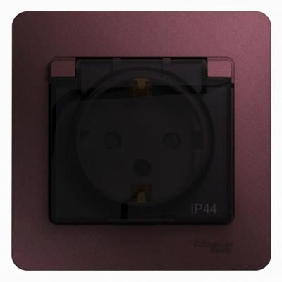 Schneider Electric Glossa Баклажановый Розетка с/з со шторками с крышкой IP44 16A 250В в сборе купить в интернет-магазине Азбука Сантехники
