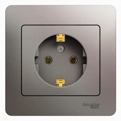 Schneider Electric Glossa Платина Розетка с/з 16A 250В в сборе купить в интернет-магазине Азбука Сантехники