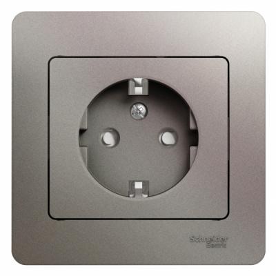 Schneider Electric Glossa Платина Розетка с/з со шторками 16A 250В в сборе купить в интернет-магазине Азбука Сантехники