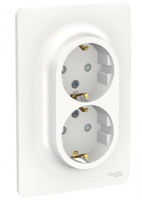 Schneider Electric Unica New Белый Розетка двойная со шторками с заземлением винтовой зажим купить в интернет-магазине Азбука Сантехники