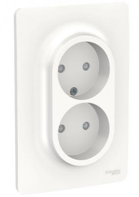 Schneider Electric Unica New Белый Розетка двойная со шторками без заземления винтовой зажим купить в интернет-магазине Азбука Сантехники