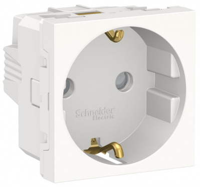 Schneider Electric Unica New Modular Белый Розетка с/з со шторками винтовой зажим 16A 250В 2 мод купить в интернет-магазине Азбука Сантехники