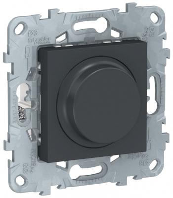 Schneider Electric Unica New LED Антрацит Светорегулятор поворотно-нажимной универсальный 5-200Вт купить в интернет-магазине Азбука Сантехники