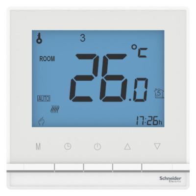 Schneider Electric AtlasDesign Белый Термостат электронный теплого пола с датчиком от+5 до +35°C 16A купить в интернет-магазине Азбука Сантехники