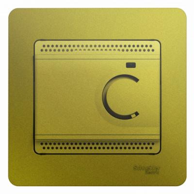 Schneider Electric Glossa Фисташковый Термостат электронный теплого пола с датчиком +5-+50°C 10A в сборе купить в интернет-магазине Азбука Сантехники