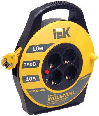 IEK Industrial УК10 Удлинитель на катушке 2P+РЕ, 4 розетки, шнур 10м, 10A/220V купить в интернет-магазине Азбука Сантехники