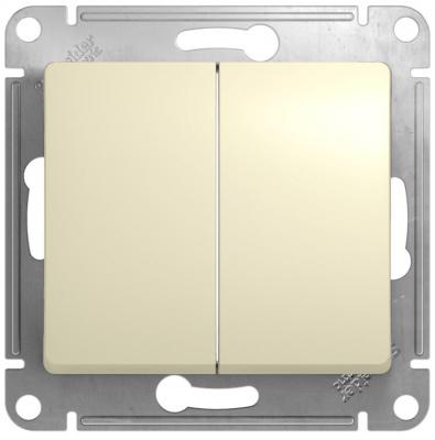 Schneider Electric Glossa Бежевый Переключатель 2-клавишный 10A (схема 6+6) купить в интернет-магазине Азбука Сантехники
