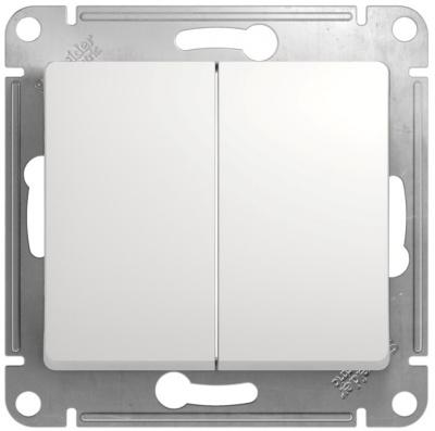 Schneider Electric Glossa Белый Переключатель 2-клавишный 10A (схема 6+6) купить в интернет-магазине Азбука Сантехники
