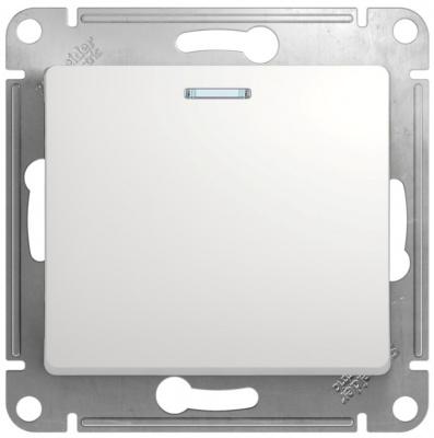 Schneider Electric Glossa Белый Переключатель 1-клавишный с подсветкой 10A (схема 6A) купить в интернет-магазине Азбука Сантехники