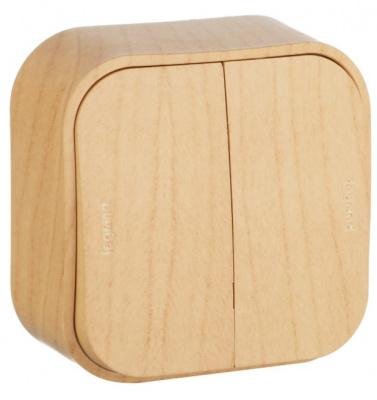 Legrand Quteo Сосна Переключатель 2-клавишный на 2 направления 10A IP20 купить в интернет-магазине Азбука Сантехники