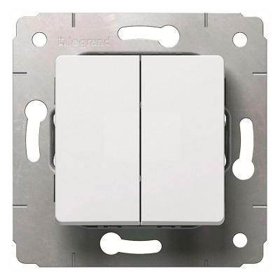 Legrand Cariva Белый Переключатель 2-клавишный на 2 направления 10A купить в интернет-магазине Азбука Сантехники