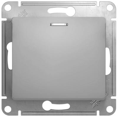 Schneider Electric Glossa Алюминий Переключатель 1-клавишный с подсветкой 10A (схема 6A) купить в интернет-магазине Азбука Сантехники
