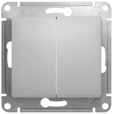 Schneider Electric Glossa Алюминий Переключатель 2-клавишный 10A (схема 6+6) купить в интернет-магазине Азбука Сантехники