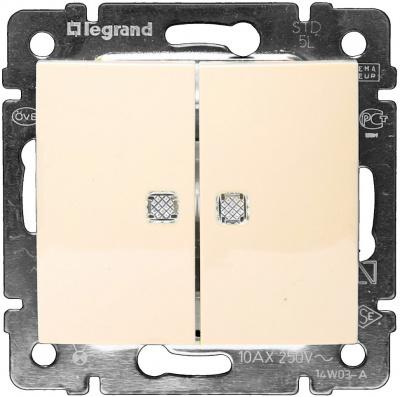 Legrand Valena Слоновая кость Переключатель 2-клавишный на два направления с подсветкой 10A купить в интернет-магазине Азбука Сантехники