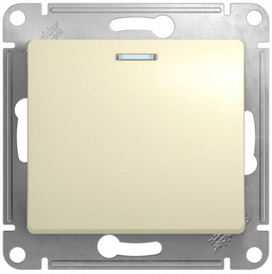 Schneider Electric Glossa Бежевый Переключатель 1-клавишный с подсветкой 10A (схема 6A) купить в интернет-магазине Азбука Сантехники