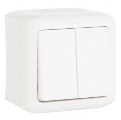 Legrand Quteo Белый Переключатель 2-клавишный на 2 направления 10A IP44 купить в интернет-магазине Азбука Сантехники