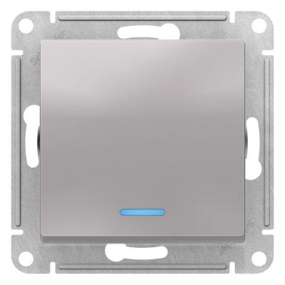 Schneider Electric AtlasDesign Алюминий Переключатель 1-клавишный с подсветкой сх.6A 10AX механизам купить в интернет-магазине Азбука Сантехники