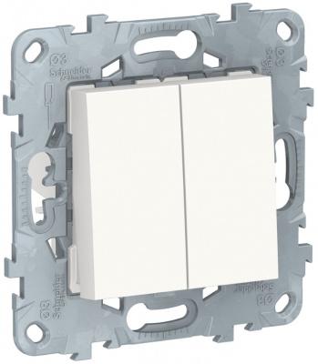 Schneider Electric Unica New Белый Переключатель 2-клавишный перекрестный 2 x сх.7 10 AX 250В купить в интернет-магазине Азбука Сантехники