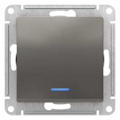 Schneider Electric AtlasDesign Сталь Переключатель 1-клавишный с подсветкой сх.6A 10AX механизам купить в интернет-магазине Азбука Сантехники