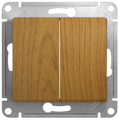 Schneider Electric Glossa Дуб Переключатель 2-клавишный 10A (схема 6+6) купить в интернет-магазине Азбука Сантехники