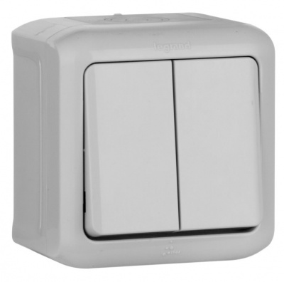 Legrand Quteo Серый Переключатель 2-клавишный на 2 направления 10A IP44 купить в интернет-магазине Азбука Сантехники