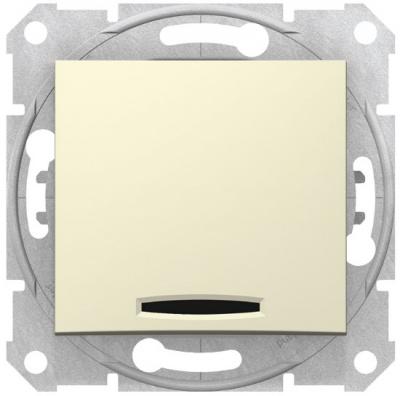 Schneider Electric Sedna Бежевый Переключатель 1-клавишный с индикацией 10A купить в интернет-магазине Азбука Сантехники
