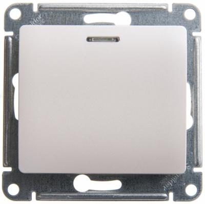 Schneider Electric Glossa Перламутр Переключатель 1-клавишный с подсветкой (схема 6A) 10AX механизам купить в интернет-магазине Азбука Сантехники