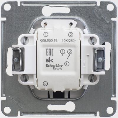 Schneider Electric Glossa Антрацит Переключатель 1-клавишный с подсветкой (схема 6A) 10AX механизам купить в интернет-магазине Азбука Сантехники