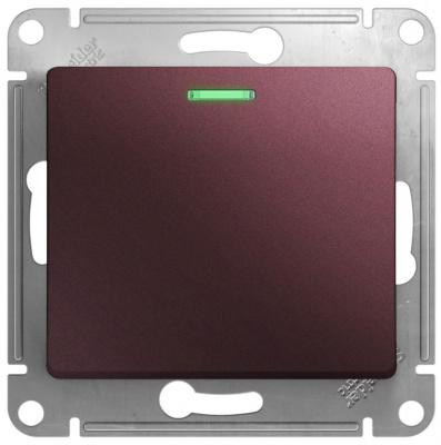 Schneider Electric Glossa Баклажановый Переключатель 1-клавишный с подсветкой (схема 6A) 10AX механизм купить в интернет-магазине Азбука Сантехники