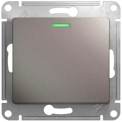 Schneider Electric Glossa Платина Переключатель 1-клавишный с подсветкой (схема 6A) 10AX механизм купить в интернет-магазине Азбука Сантехники