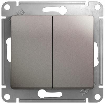Schneider Electric Glossa Платина Переключатель 2-клавишный (схема 6) 10AX механизм купить в интернет-магазине Азбука Сантехники