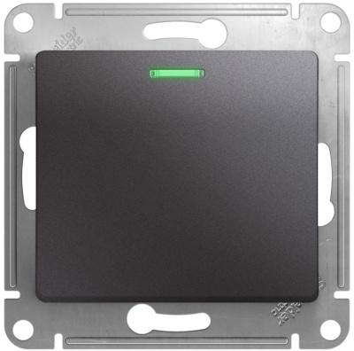 Schneider Electric Glossa Графит Переключатель 1-клавишный с подсветкой (схема 6A) 10AX механизм купить в интернет-магазине Азбука Сантехники