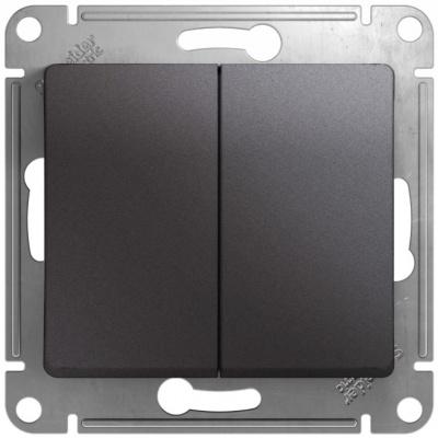 Schneider Electric Glossa Графит Переключатель 2-клавишный (схема 6) 10AX механизм купить в интернет-магазине Азбука Сантехники