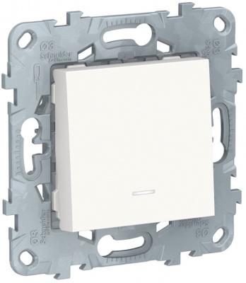 Schneider Electric Unica New Белый Переключатель 1-клавишный с подсветкой сх.6A купить в интернет-магазине Азбука Сантехники