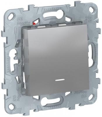 Schneider Electric Unica New Алюминий Переключатель 1-клавишный перекрестный с подсветкойсх.7A купить в интернет-магазине Азбука Сантехники