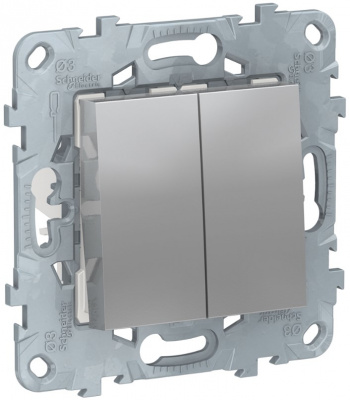 Schneider Electric Unica New Алюминий Переключатель 2-клавишный перекрестный 2 x сх.7 10 AX 250В купить в интернет-магазине Азбука Сантехники