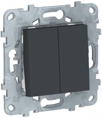 Schneider Electric Unica New Антрацит Переключатель 2-клавишный 2 х сх.6 купить в интернет-магазине Азбука Сантехники